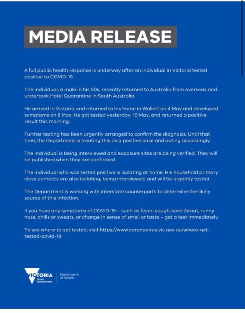 Covid-19 Victoria Media Release